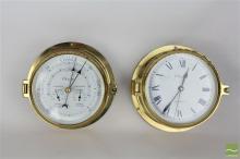 Ocean Brass Bulkhead Clock & Barometer