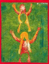 CHARLES BLACKMAN (1928 - 2019) Celebration acrylic on canvas on board 36.5 x 29 cm (frame: 56 x 49 x 4 cm) signed upper right