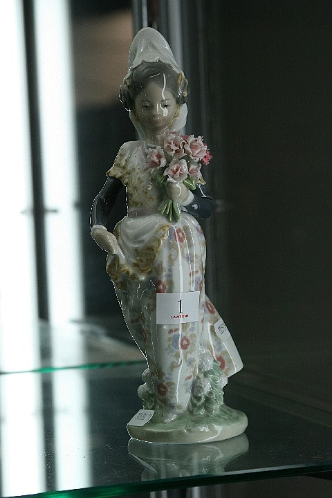 Lladro Figure of a Girl with Flowers