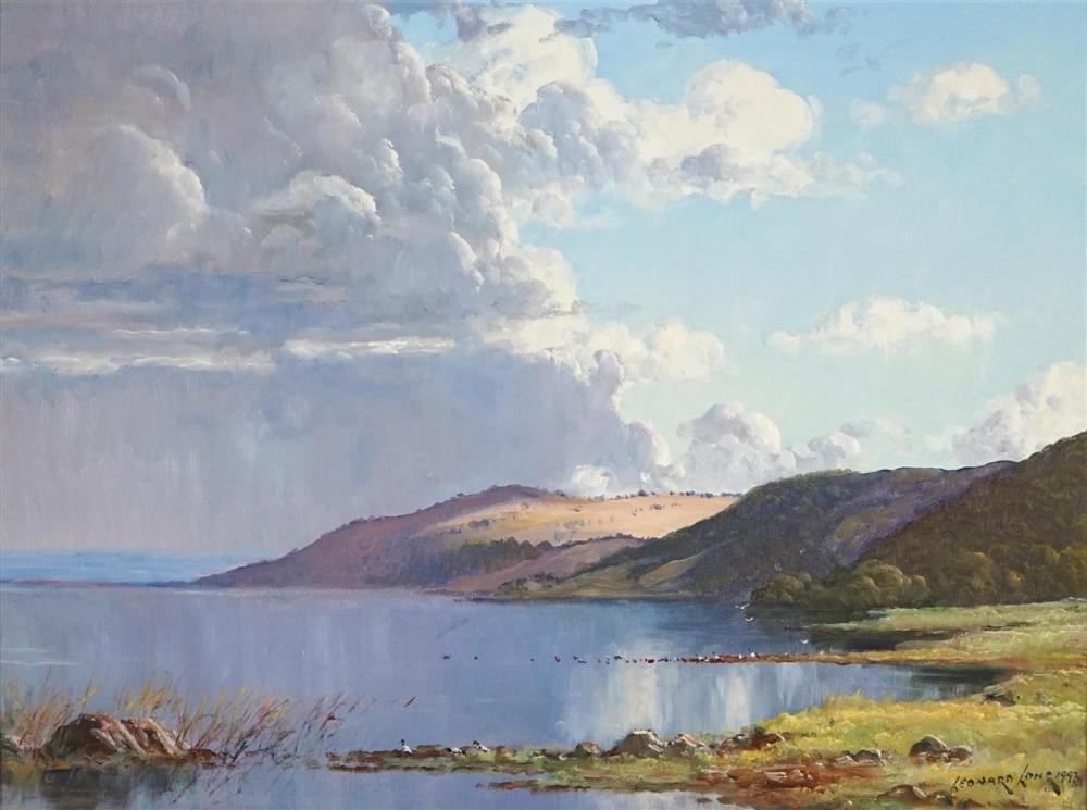 Leonard Long (1911 - 2013) - Passing Storm, Lake George NSW, 1993 44 x 59cm