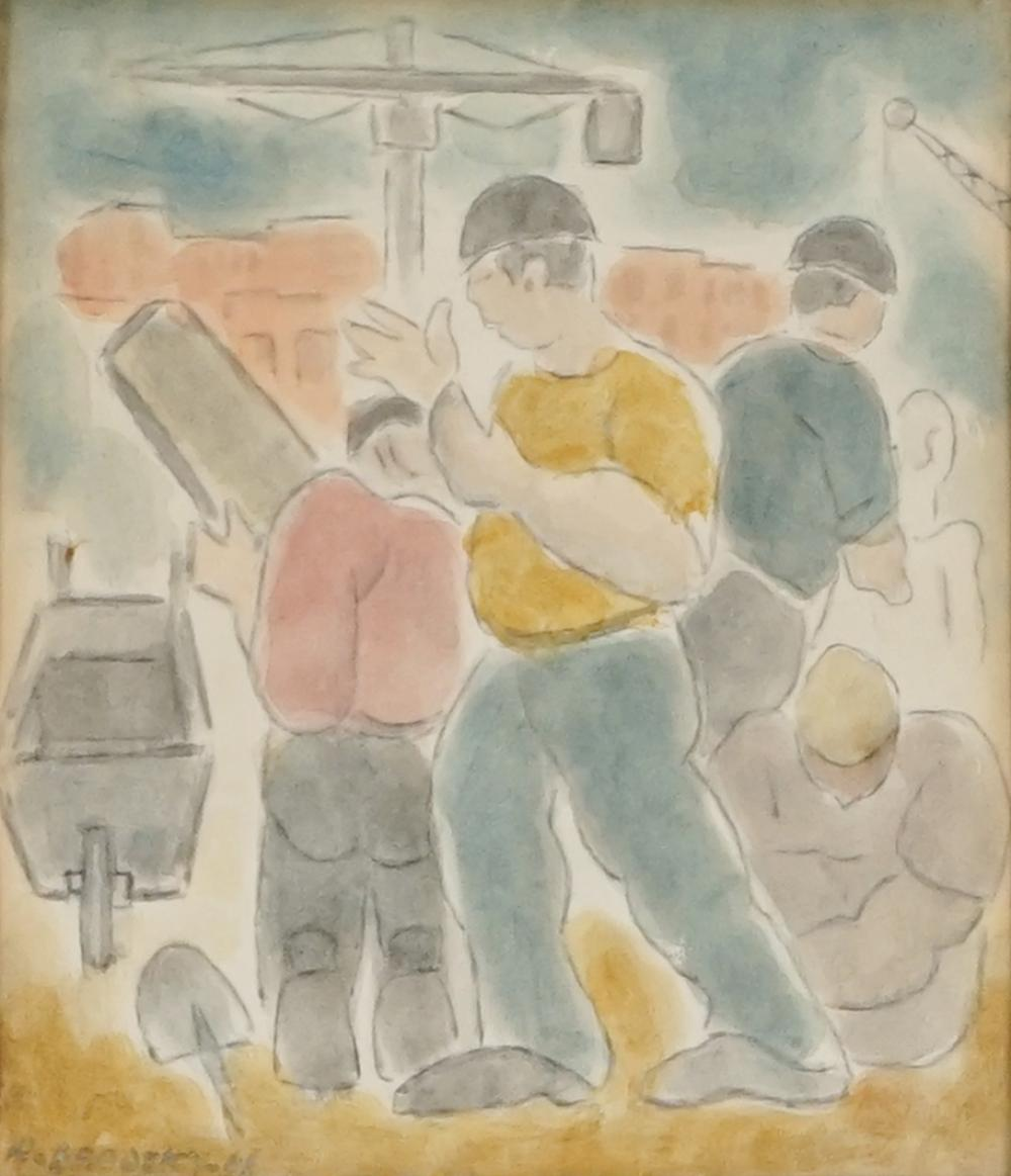 Horace Brodzky (1885 - 1969) - The Builders, 1966 18 x 16cm