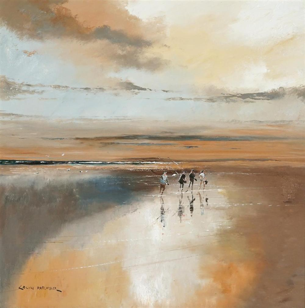 Colin Parker (1941 - ) - Beach Reflections 48.5 x 48.5cm