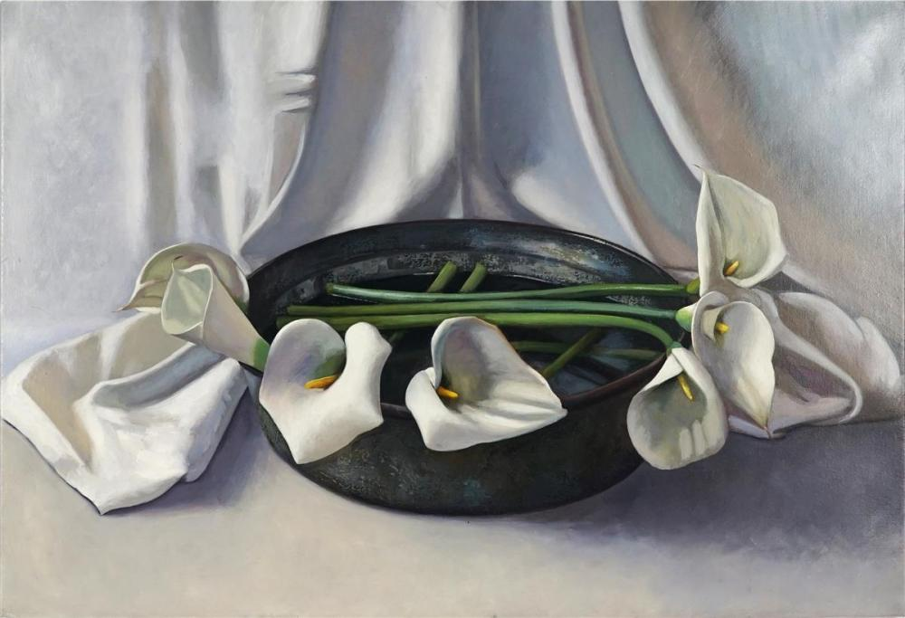 Crispin Akerman - Lilies and Turkish Mixing Bowl, 2005 56 x 83cm