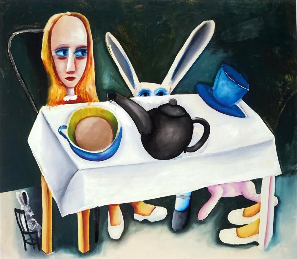 Charles Blackman (1928 - 2018) - Feet Beneath the Table 65 x 75cm