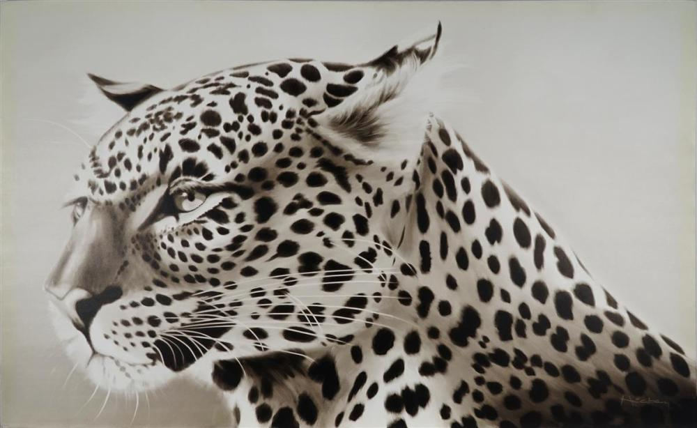 Peter Hickey (1943 - ) - Leopard Observing 121.5 x 182.5cm
