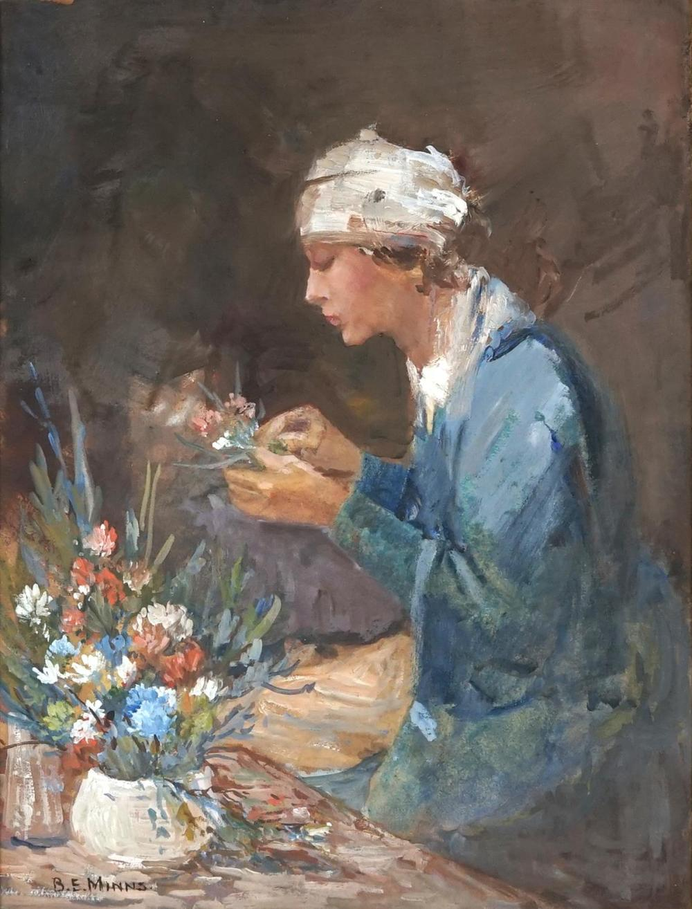 Benjamin Minns (1864 - 1937) - Arranging Flowers 35 x 28cm