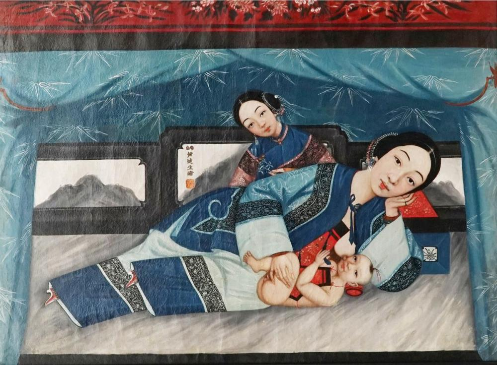 Artist Unknown - C19th Chinese Trade Painting of Mother and Suckling Child 54 x 74cm
