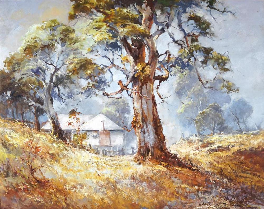 D'Arcy W Doyle (1932 - 2001) - Bush Landscape with Homestead 39 x 49cm