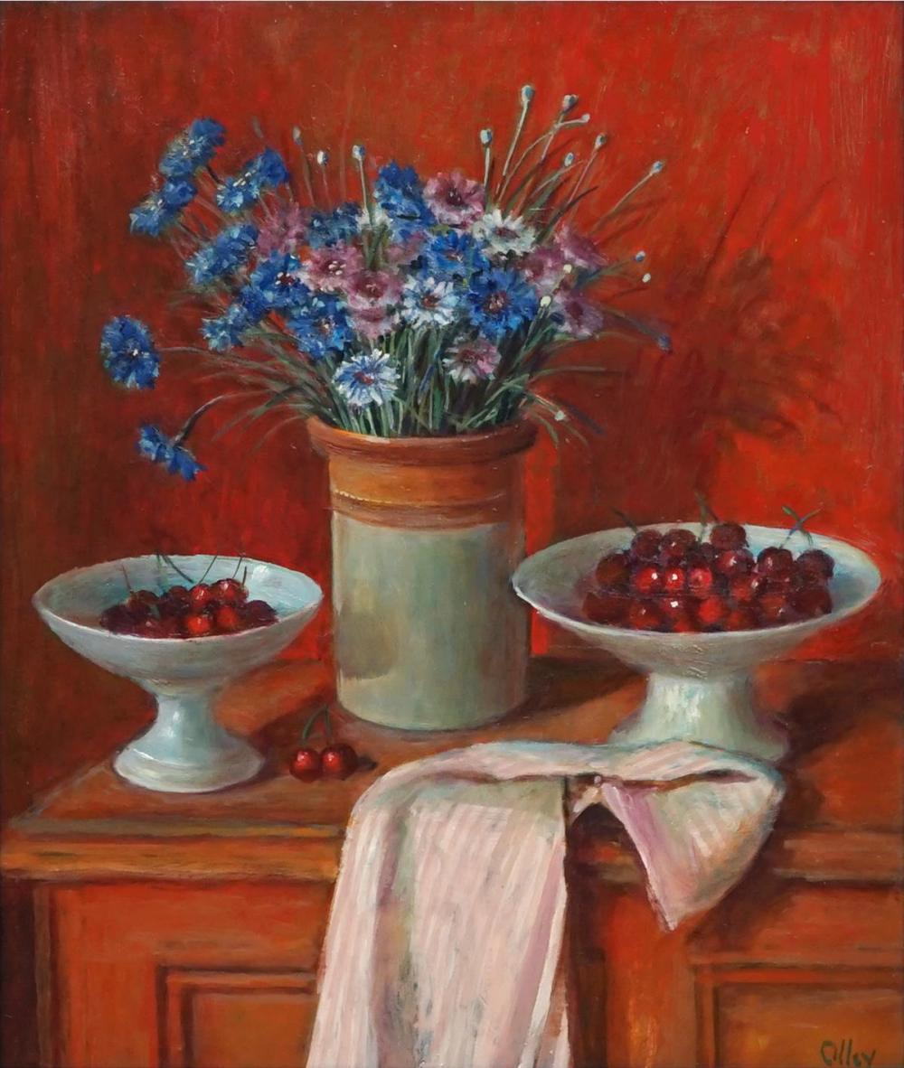 Margaret Olley (1923 - 2011) - Corn Flowers and Cherries, 1976 53 x 44.5cm