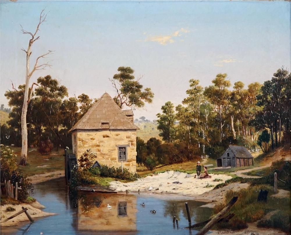 Henricu Leonadus Van De Houten (1801 - 1879) - Mill House and River, 1874 28 x 48cm