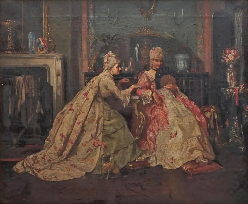 Adolf Manfred Trautschold (1854 - ?) - An C18th Salon Scene 62 x 75cm