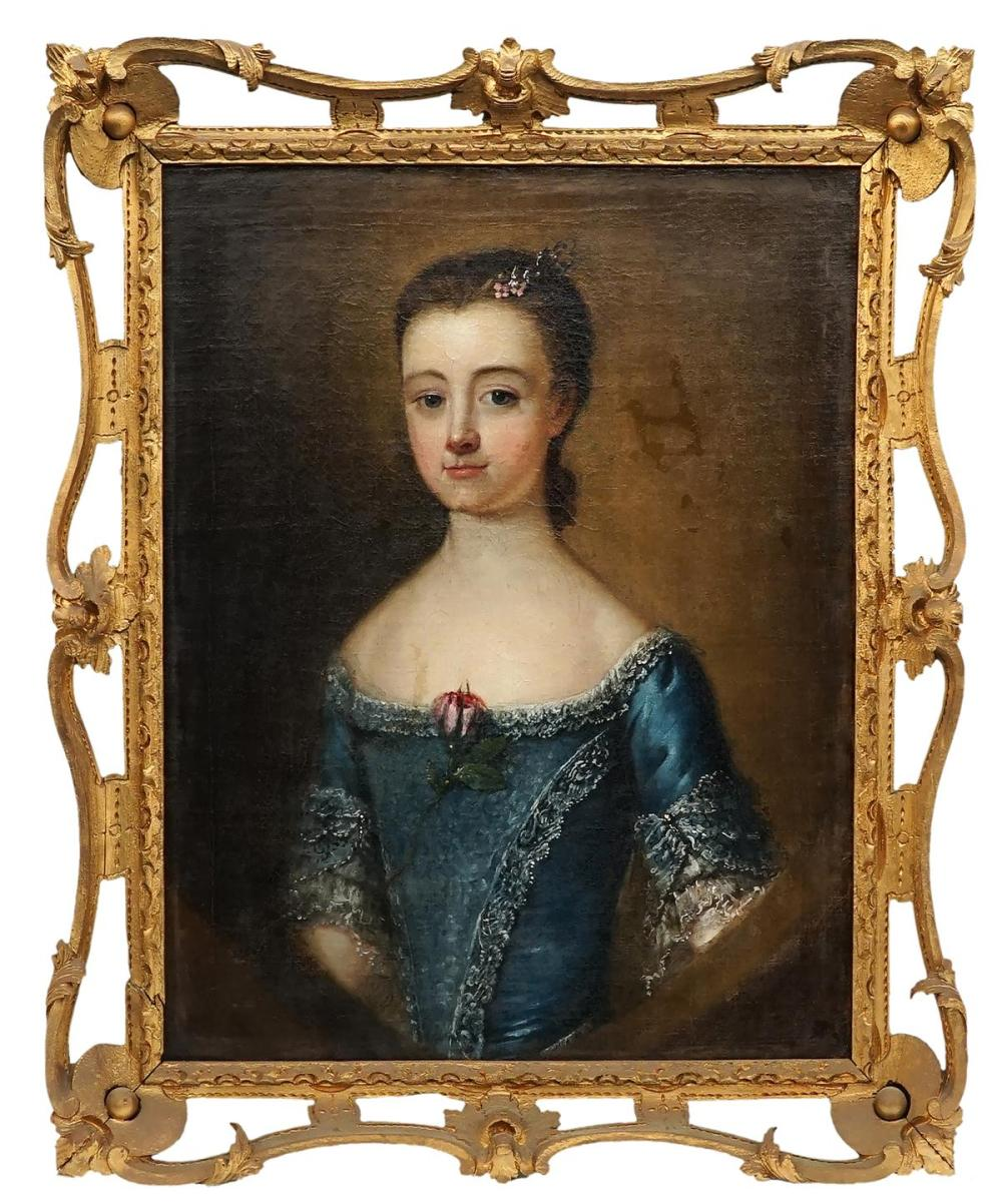 Artist Unknown (C18th) - Portrait of Miss Burton 58 x 47.5cm