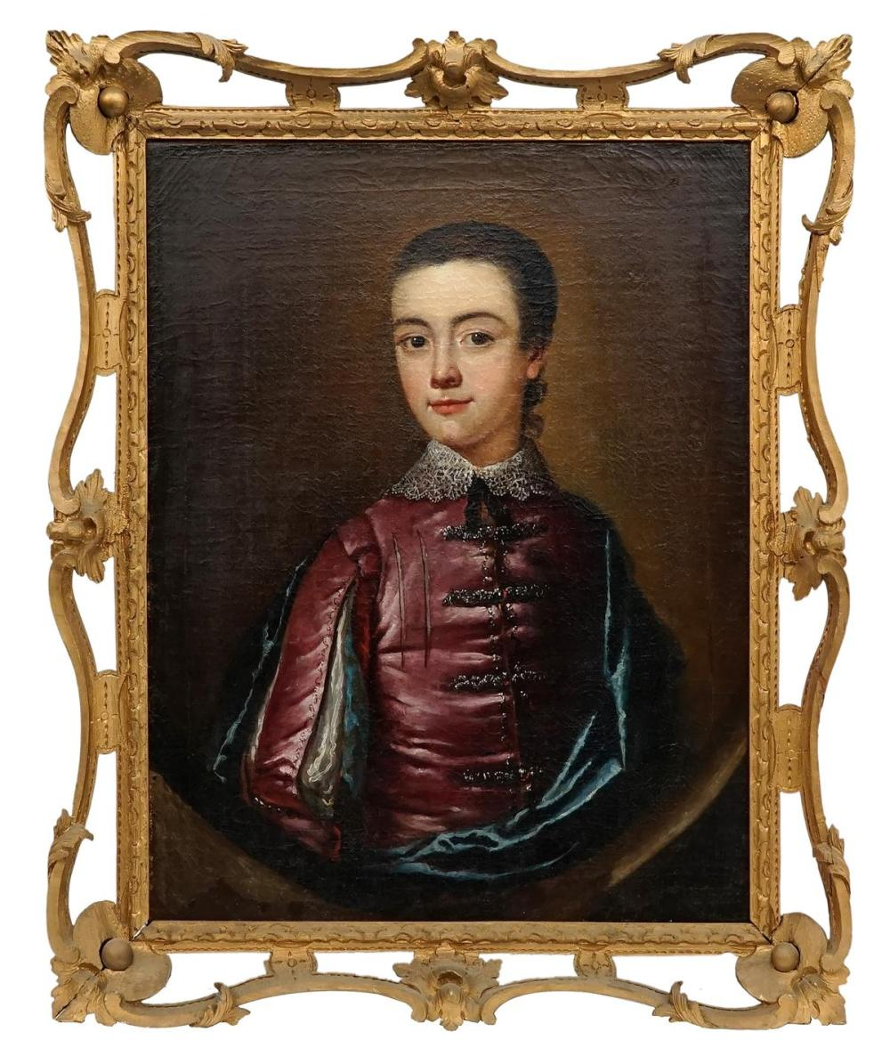Artist Unknown (C18th) - Portrait of Master Burton 58.5 x 47.5cm