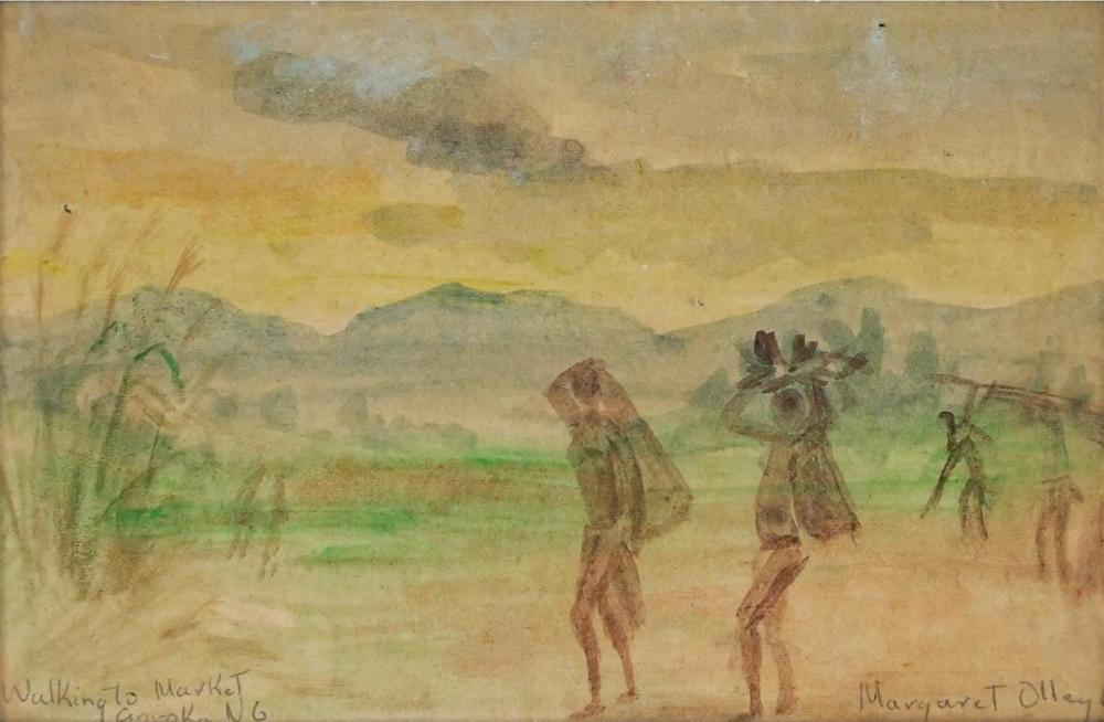 Margaret Olley (1923 - 2011) - Walking to Market, Goroka N.G 1968 11.5 x 17.5cm