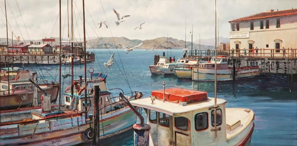 Fill Mottola (1915 - 2008) - Fisherman's Wharf, San Francisco 60 x 120cm
