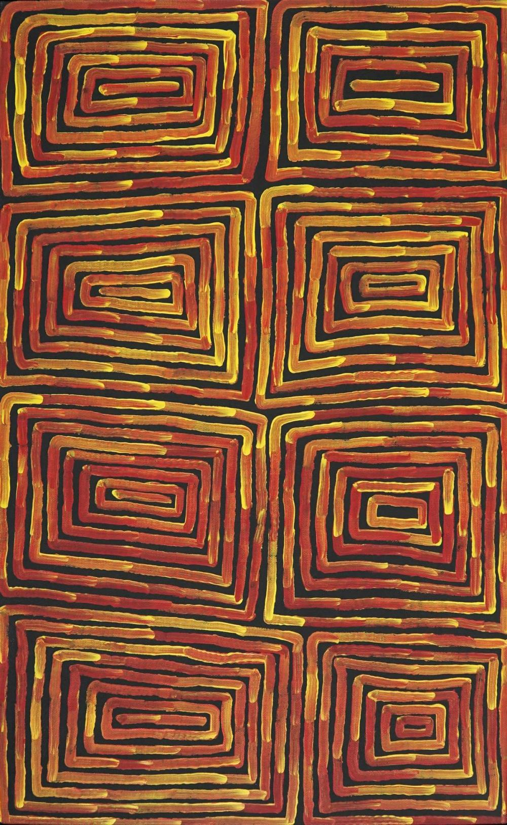 Ronnie Tjampitjinpa (c1943 - ) - Fire Dreaming 92 x 57cm (stretched and ready to hang)