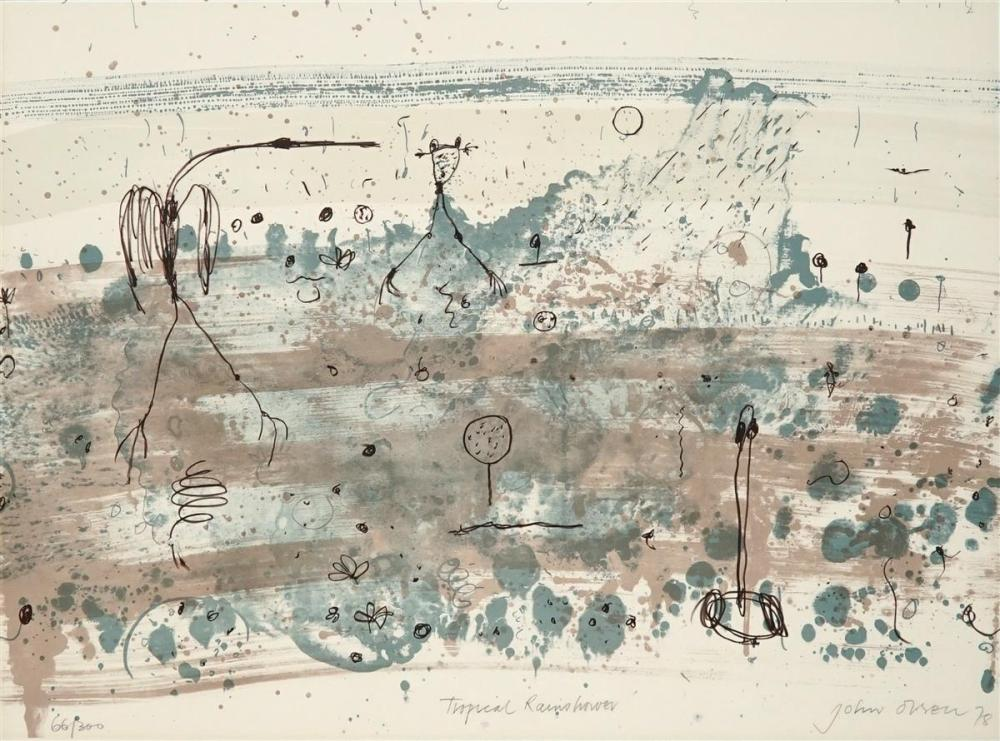 John Olsen (1928 - ) - Tropical Rainshower, 1978 76 x 56cm