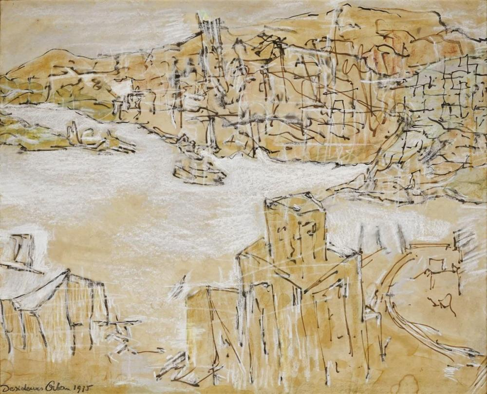 Desiderius Orban (1884 - 1986) - Untitled (Harbourscene), 1975 44 x 54cm