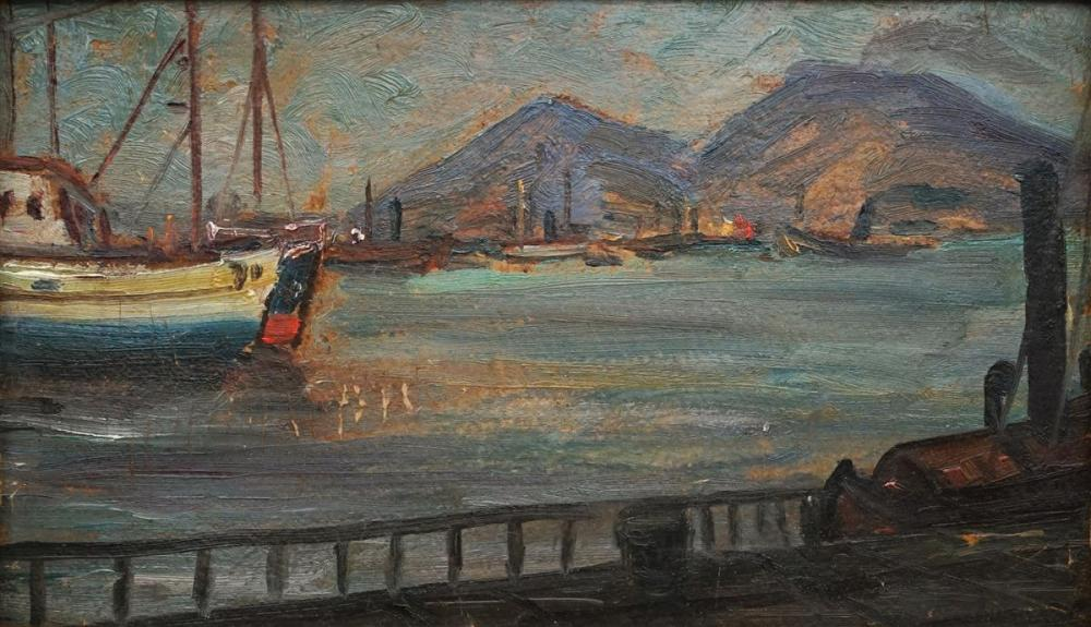 Jaksa Istvan (1894 - 1982) - Commerical Port Scene 14 x 24cm