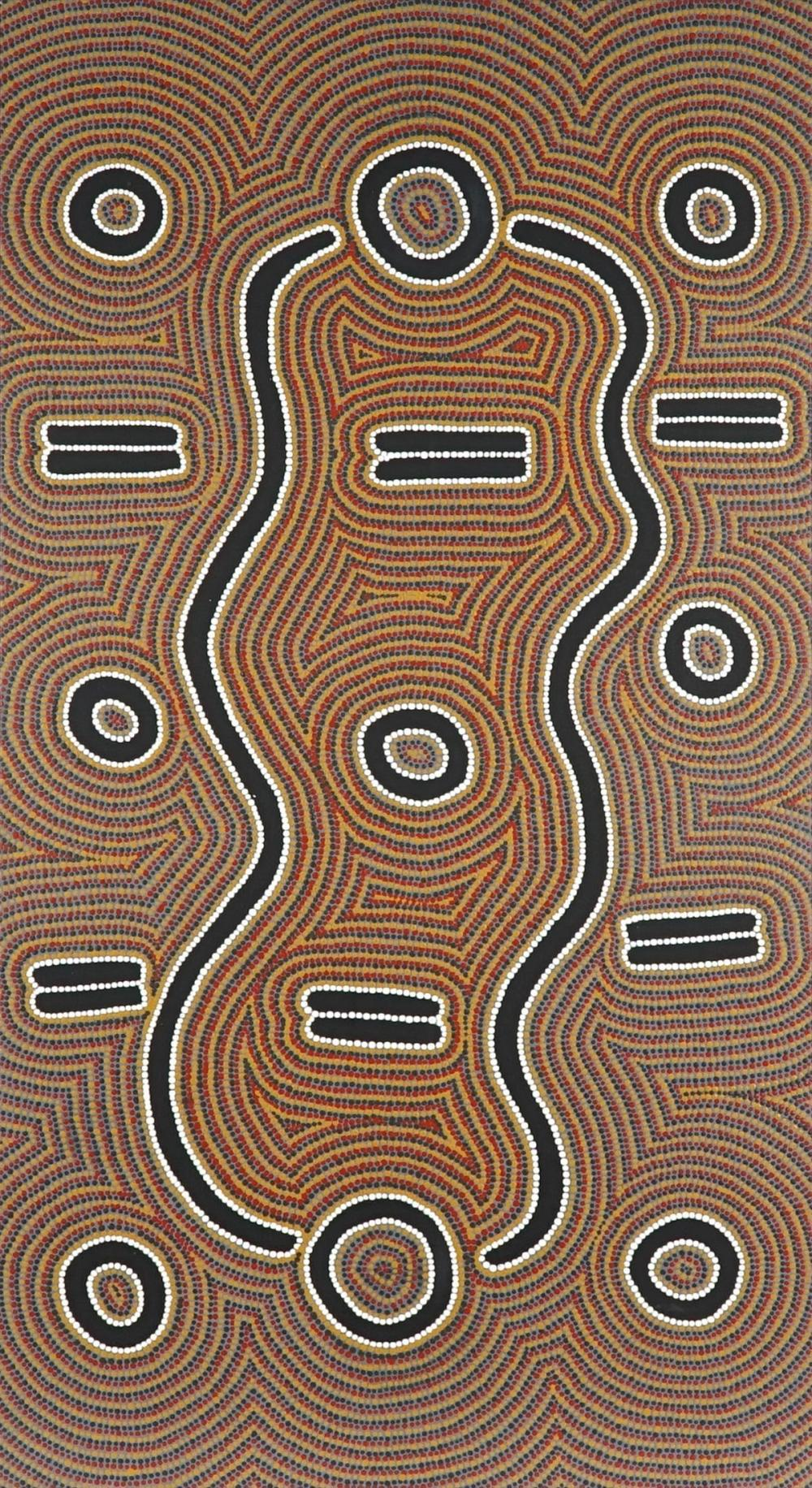 Artist Unknown (Nakamarra) - Snake Dreaming 66 x 126cm (stretched and ready to hang)