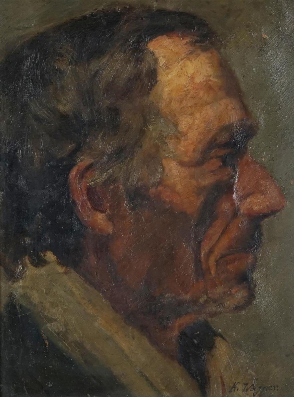 Karl Wagner - Portrait of a Man 32.5 x 24cm