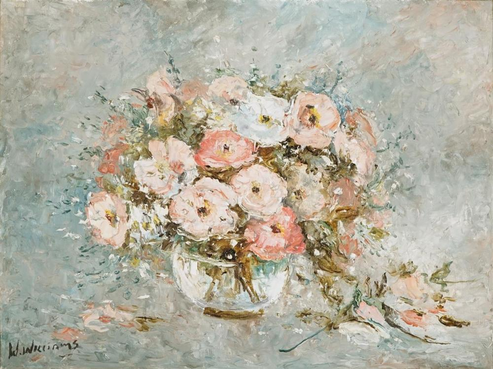 Wilmotte Williams (1916 - 1992) - Still Life with Pink Roses 44.5 x 60cm