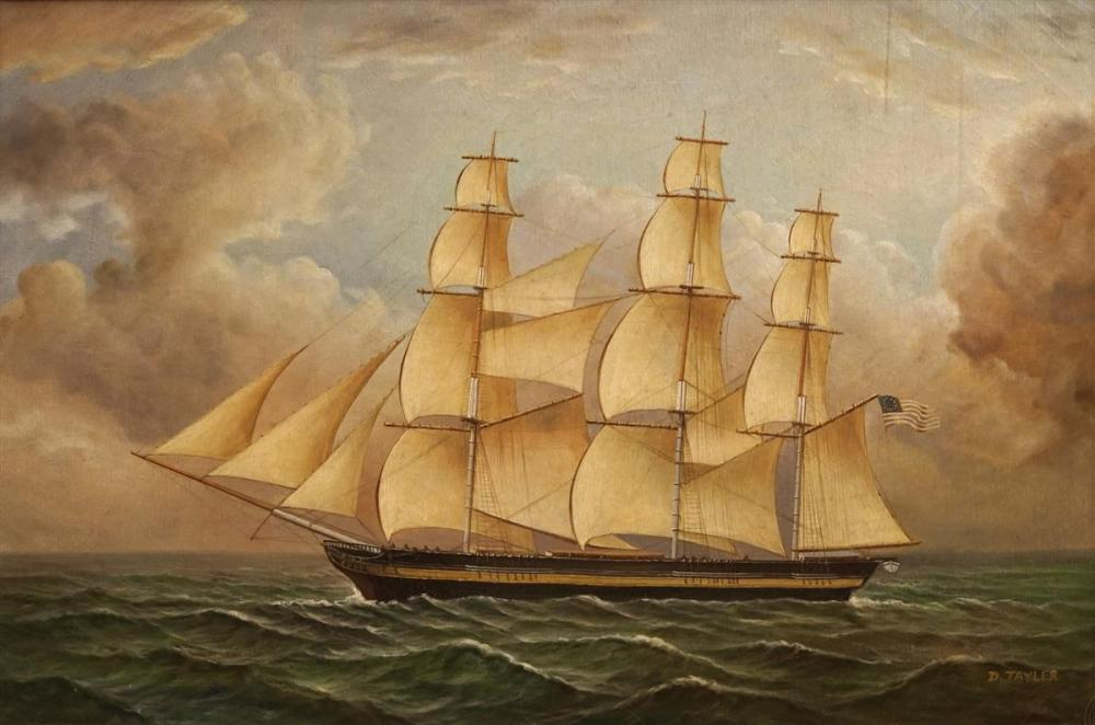 D Tayler (1928 - ) - Tall Ship 60 x 90cm