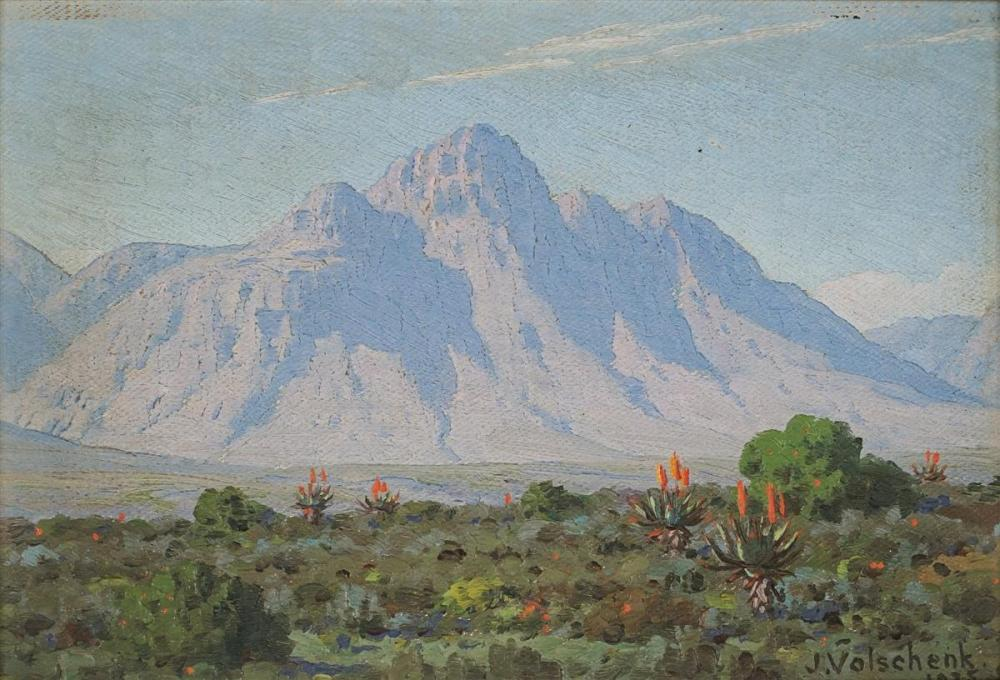 J.E.A Volschenck - Mountain and Veld-Riversdale, 1935 15 x 22.5cm