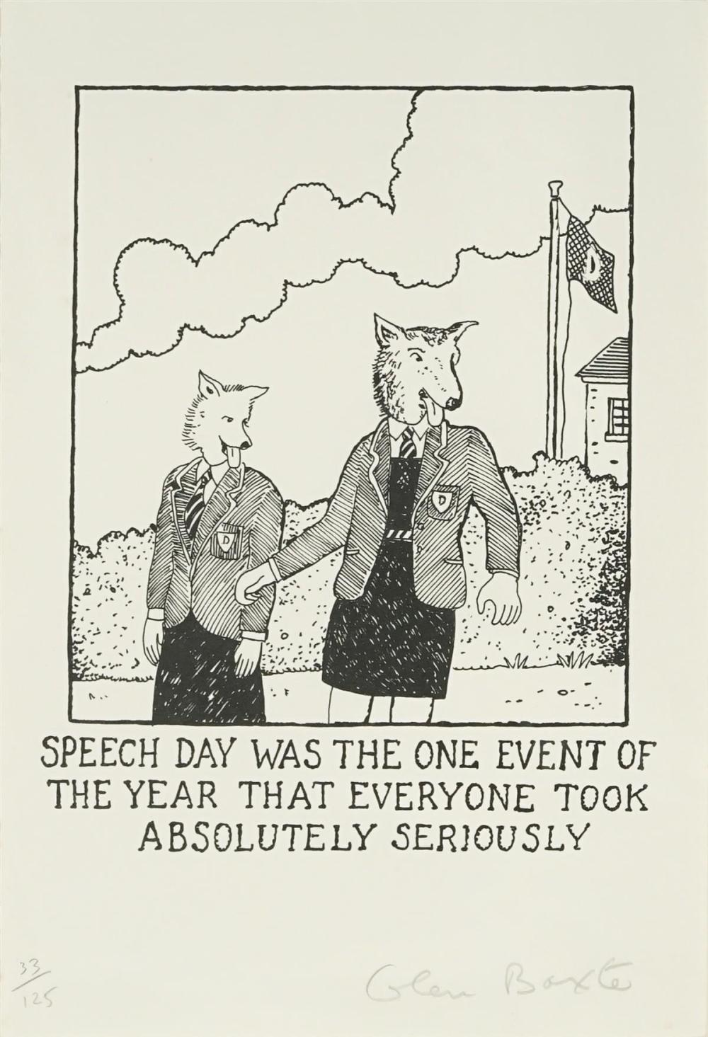 Glen Baxter (1944 - ) - Speech day was the one event of the year that everyone took absolutely seriously 26 x 38cm