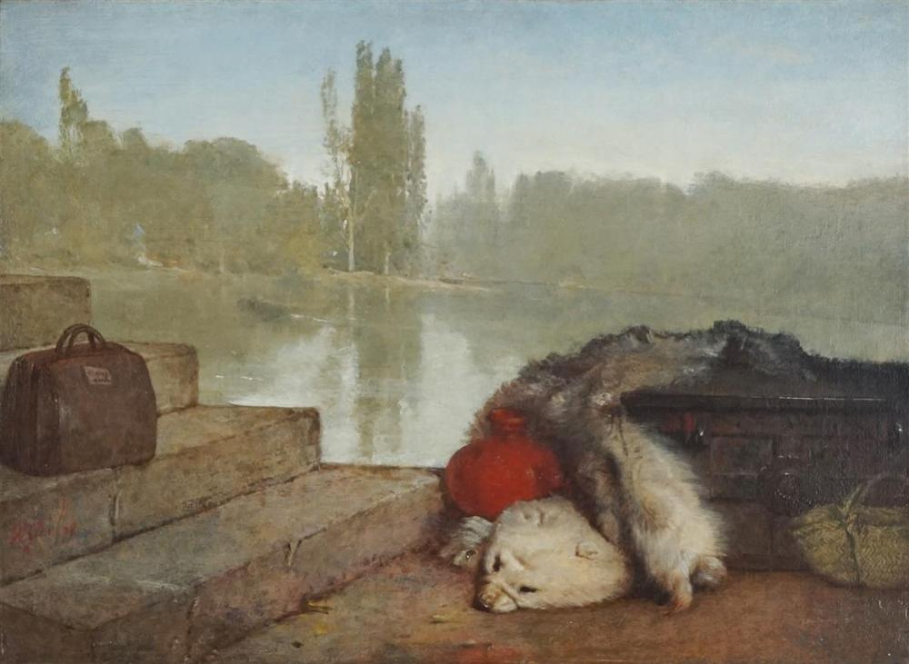 Artist Unknown - River Scene with Curiosities 32.5 x 44.5cm