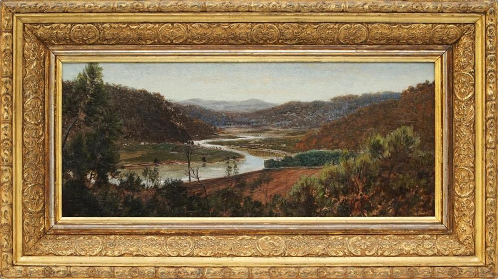 Artist Unknown (C19th) - Overlooking Country Landscape with River and Residence 13.5 x 32cm