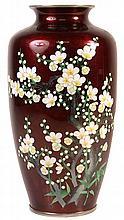 Ando Jubei Silver Cloisonne Vase