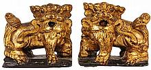 Chinese Antique Pair of Gilt Timber Buddhist Lions