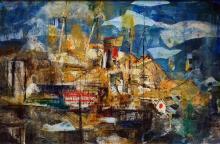 Essie Nangle (1915 - 2006) - Finger Wharf 49.5 x 75cm