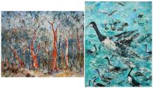 Essie Nangle (1915 - 2006) (2 works) - Bark Shredding (Sclorophyll Forest, Blue Mountains); Canada Geese 60 x 75cm; 75 x 60cm