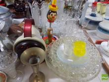 Collection of Sundries incl Set of 10 Etched Glasses with Jug, Infra-Red Lamp & Vintage Children's Toy