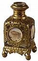 Gilt Metal & Glass Perfume Bottle