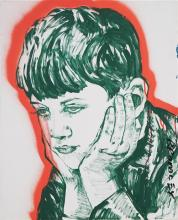 David Bromley (1960 - ) - Boy Portrait 82 x 66cm