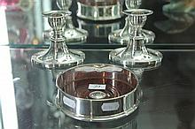 English Hallmarked Sterling Silver Wine Bottle Coaster & a Pair of Silver Plated Candlesticks