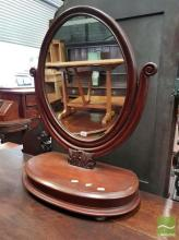 Victorian Mahogany Toilet Mirror, on lyre shaped support