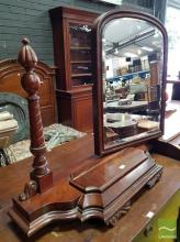 Victorian Mahogany Toilet Mirror, with spiral columns & hinged compartments