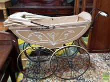 Painted Pram, with porcelain handle & spoked wheels