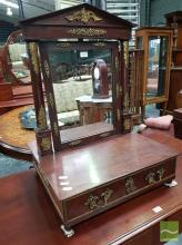 Empire Style Mahogany Toilet Mirror, with portico frame, gilt brass mounts & drawer below