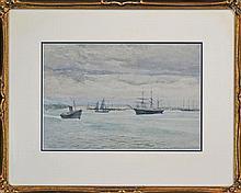 Julian Rossi Ashton (1851 - 1942) - Ships In The Harbour, Williamstown 28 x 41cm