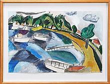 Jill Noble (1962 - ) - (untitled) Bay of Boats 37 x 57cm