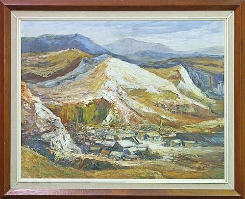 Mary (May) Neill (1910 - ) - Untitled (Mining Town) 60 x 74cm