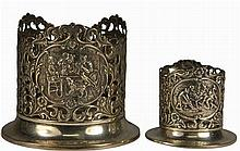 Dutch Silver Pair of Graduated Bottle Holders