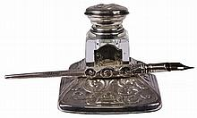 English Hallmarked Sterling Silver Inkwell & Pen
