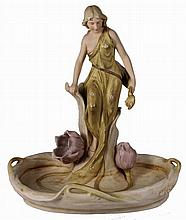 Royal Dux Art Nouveau Figural Dish of a Maiden