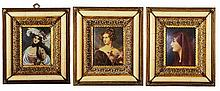 Miniature Hand Painted Set of Three Portraits